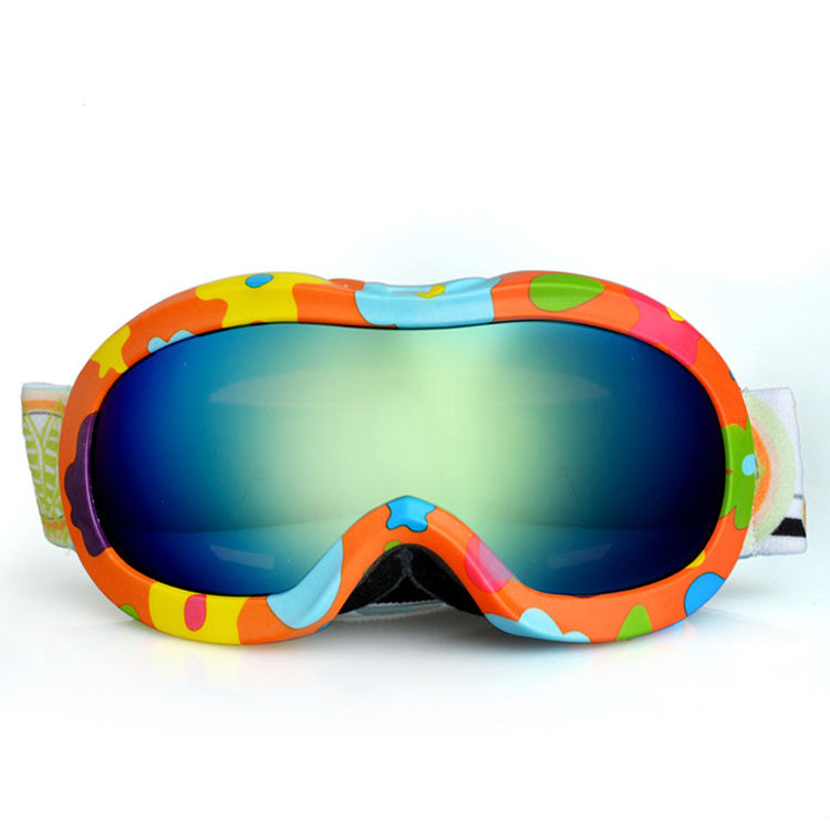 Anti UV 400 double layer lens anti-fog kids ski goggles with beauty cartoons frame design