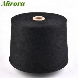 GRS Recycled/Regenerated NE20/1(NM34/1) Black CVC 20S open end oe cotton knitting sock cotton polyester blended yarn price
