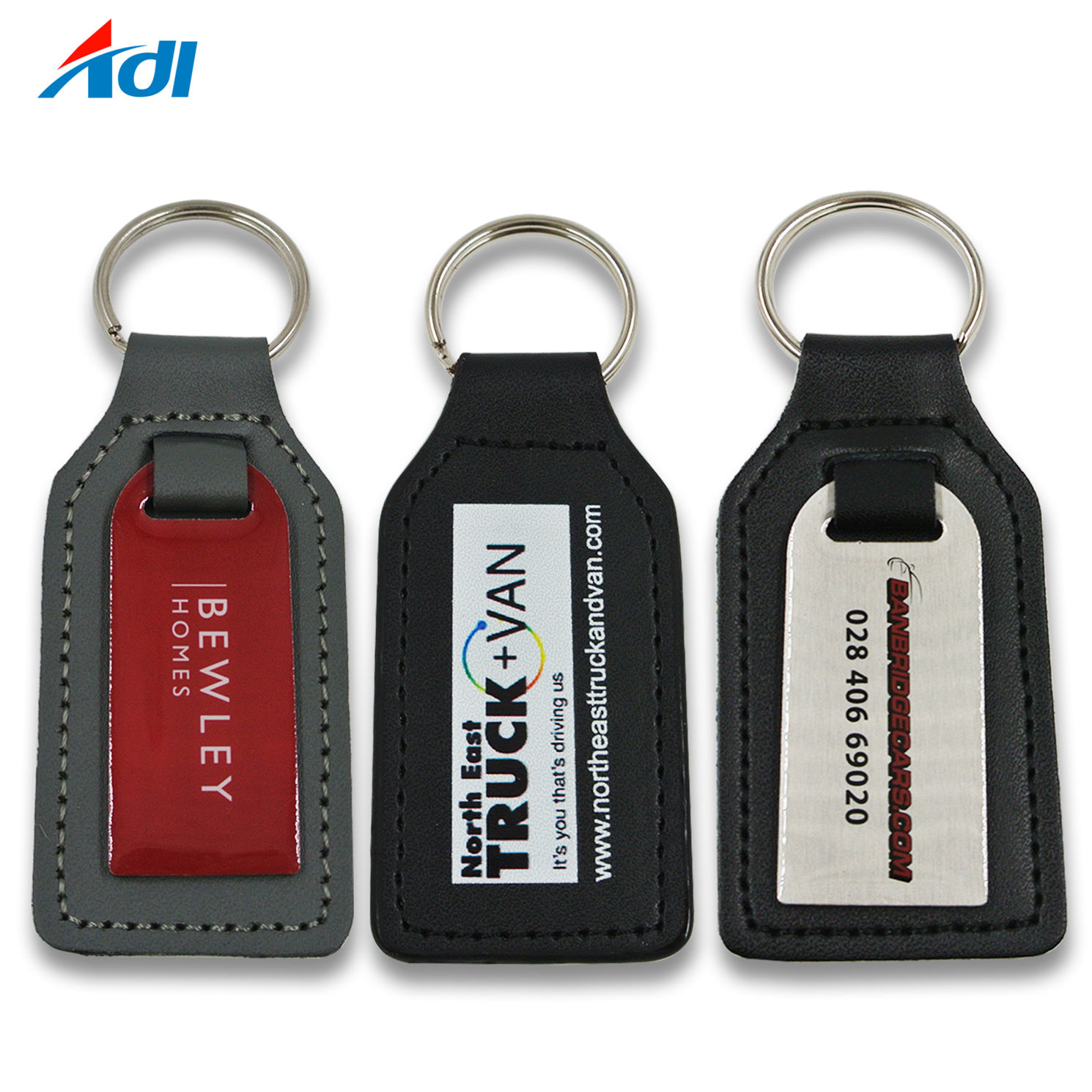 Fashion PU Leather with Logo Customized Keychain for Promotional Gift