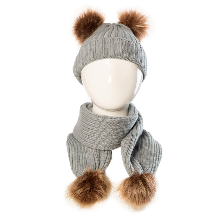 2019 cheap promotional fur pom hat kid beanie baby acrylic child winter scarf hat set