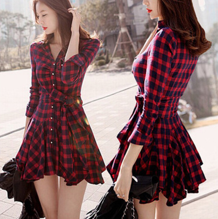 Fashion ladies dresses long sleeve ladies western plaid lady woman casual dress