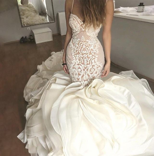 Gorgeous Luxury Ruffles Mermaid Wedding Dress Lace Pattern Trumpet Bridal Gown 2020 Design