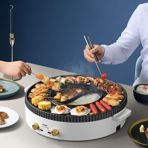 electric mini bbq hotpot with griller smokeless 3in 1High Quality