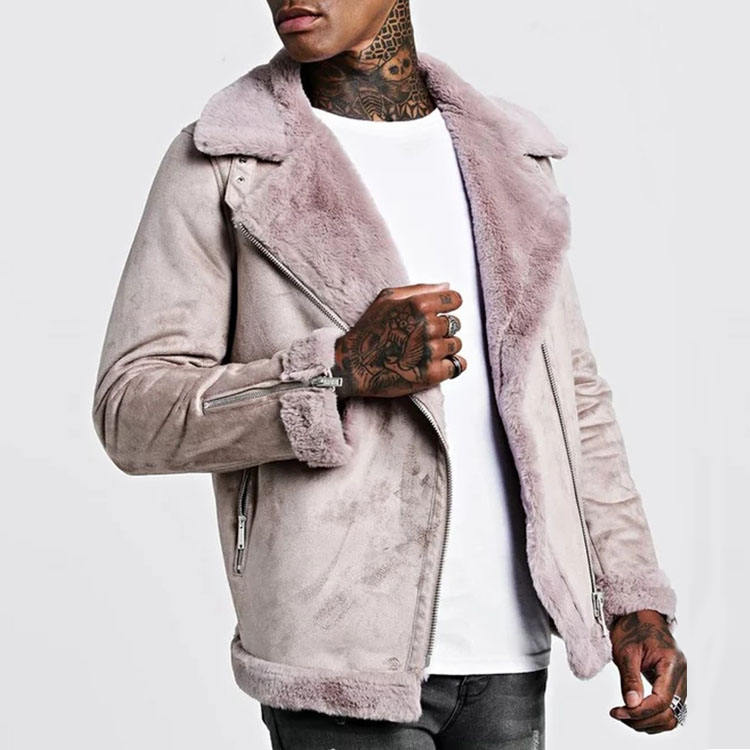 Top sale new arrival fashion style wholesale factory price best quality Dongguan fur clothing mens leather pink coat