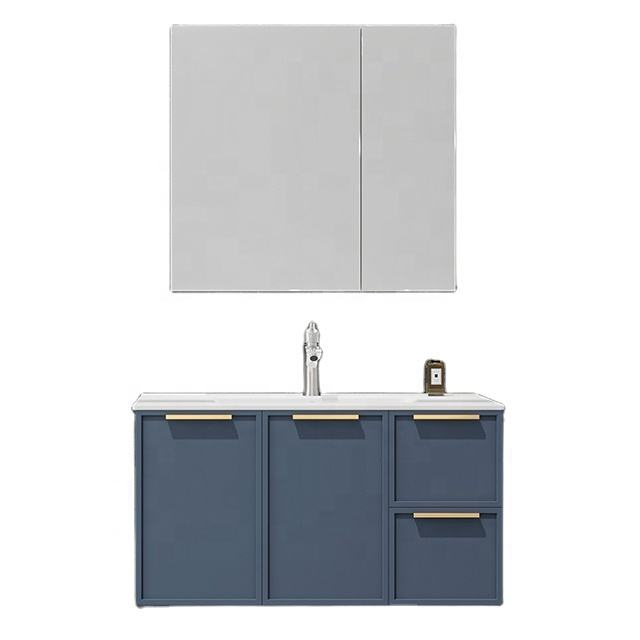 2020 New design European shaker style narrow frame wall mounted blue simple basin wash modern bathroom vanity