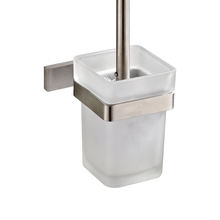 Modern Square Silver Toilet Brush Holder Toilet Set with Brush and Cup 304 Stainless Steel Glass Brushed Nickel Finish