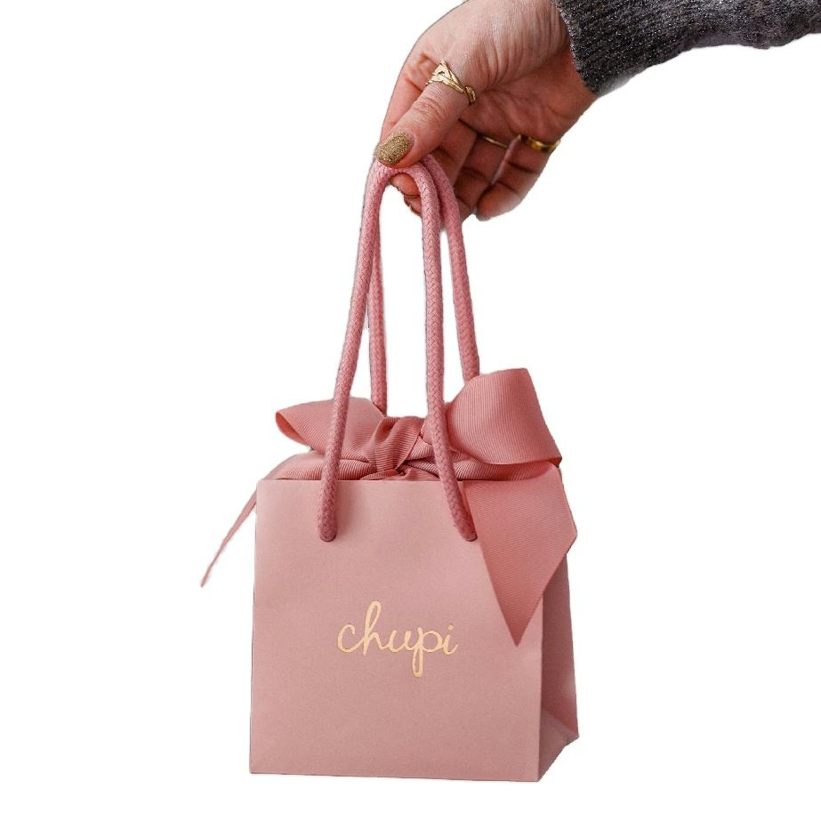 Small Gift Bags Small Pink Paper Gift Bags With Nice Ribbon Closure