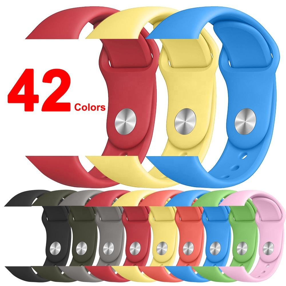 IVANHOE Band For Apple Watch 44/42mm 40/38mm Silicone Sport Replacement Bands Wristband For iWatch Series 5/4/3/2/1 S/M M/L