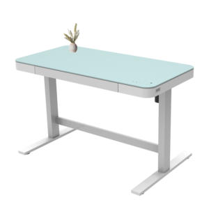 Lift Up And Down Desk Height Adjustable Electric White Raising Desk With Glass Top With Dual Usb Charger
