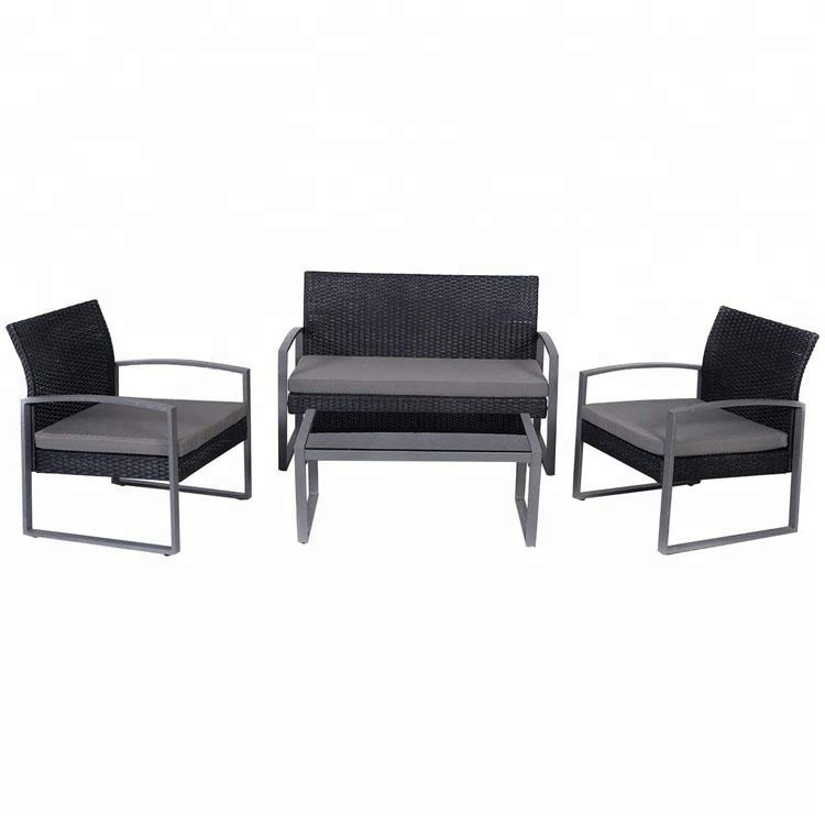 4 Pieces Patio Furniture Sets Black Wicker Outdoor Funiture