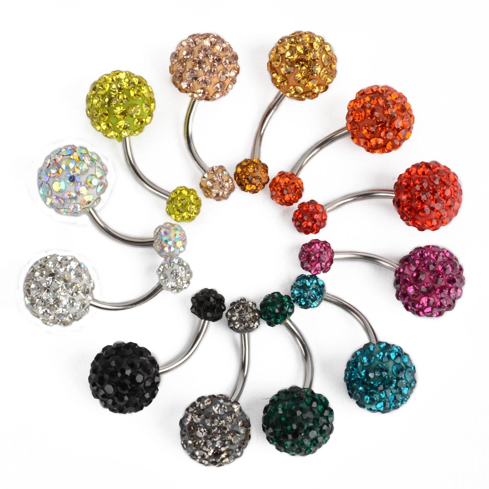 Hot Sale Sexy Piercing Jewelry Stainless Steel Belly Ring Cubic Zirconia Ball Navel Ring For Girls