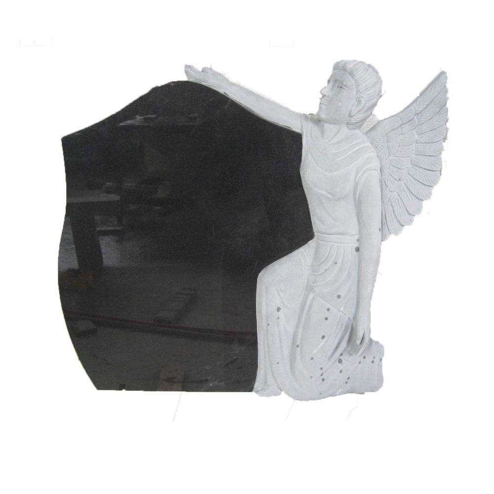Hot Sale American Style High Quality Black Granite Angel Etching Headstone