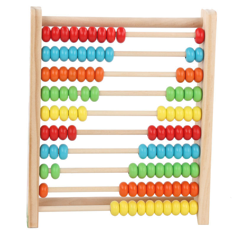 Arithmetic Teaching Toys Colorful Beads 10 Row Calculating Frames Kids Early Educational Wooden Abacus