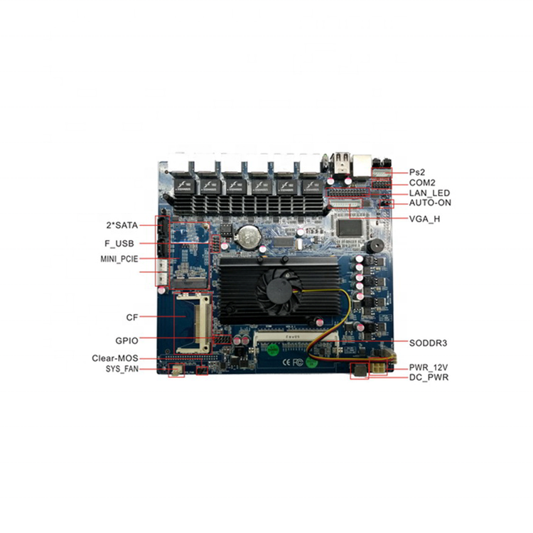 Onboard Intel ATOM D525 1.8G dual core based Mini ITX motherboard with 6 LAN For firewall ITX-EMD525-6L