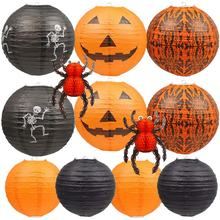 "12""8"" Halloween Hanging Paper Lanterns Set, Decorative Lantern Lamps, Spider Skeleton Pumpkin Lantern for Halloween"
