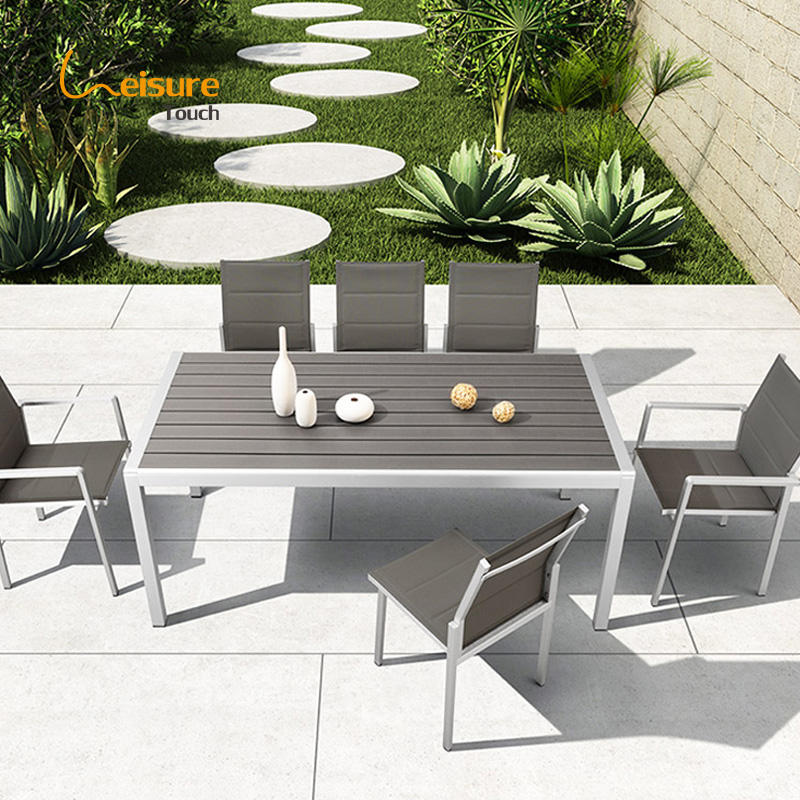 Hotel Modern Patio Dining Table And Chairs Garden Aluminum Outdoor Furniture Dining Set