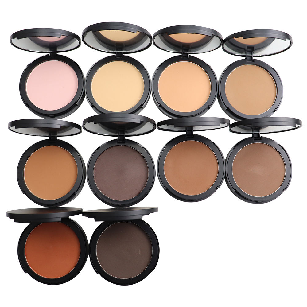 Hot colors single pressed matte face powder private label makeup 10 colors for choice compact powder