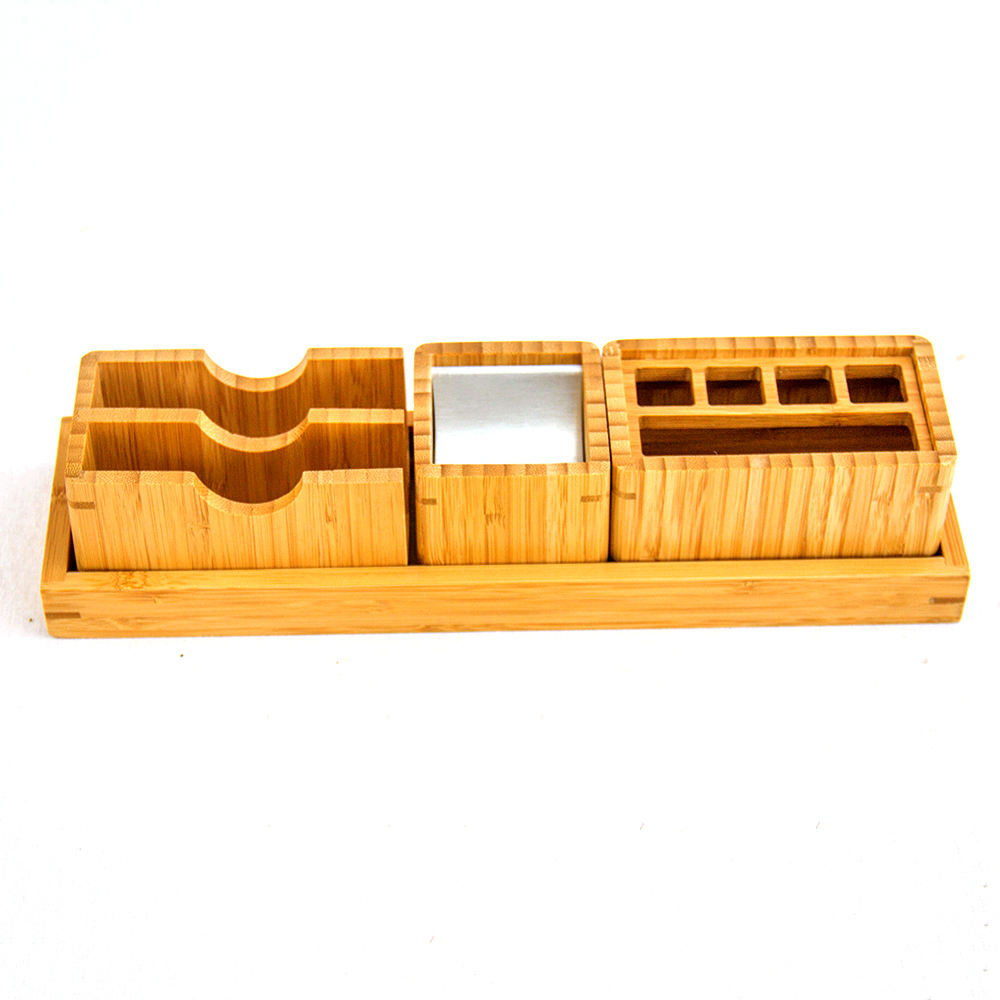Bamboo Office Desk Organizer Pen and Pencil Holder