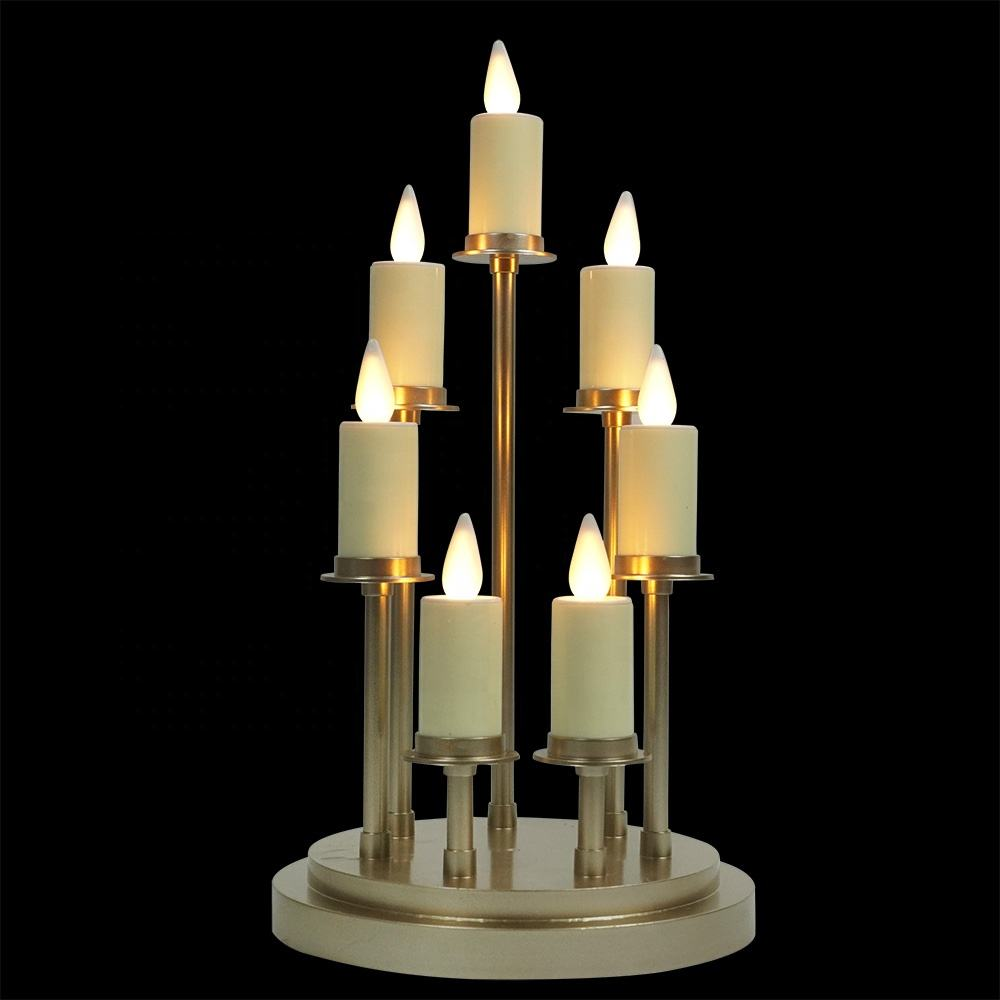 Custom made 7 pillar Kandelaar Set home decorative Flameless Candlestick Plastic Led Candle Stick for candlelight dinner