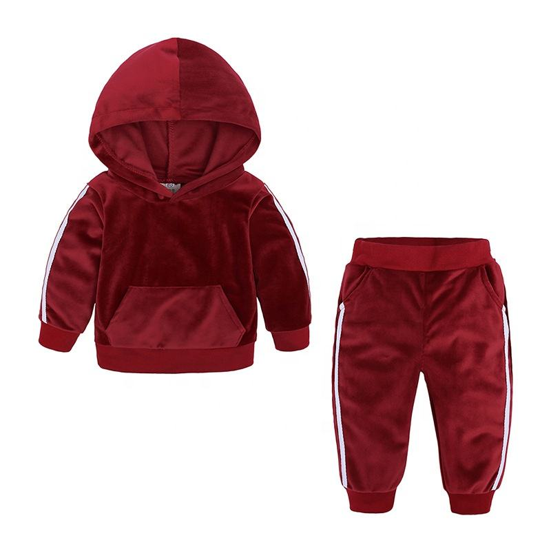 High quality children jogging baby boy girls jogger sets velvet kids track suits