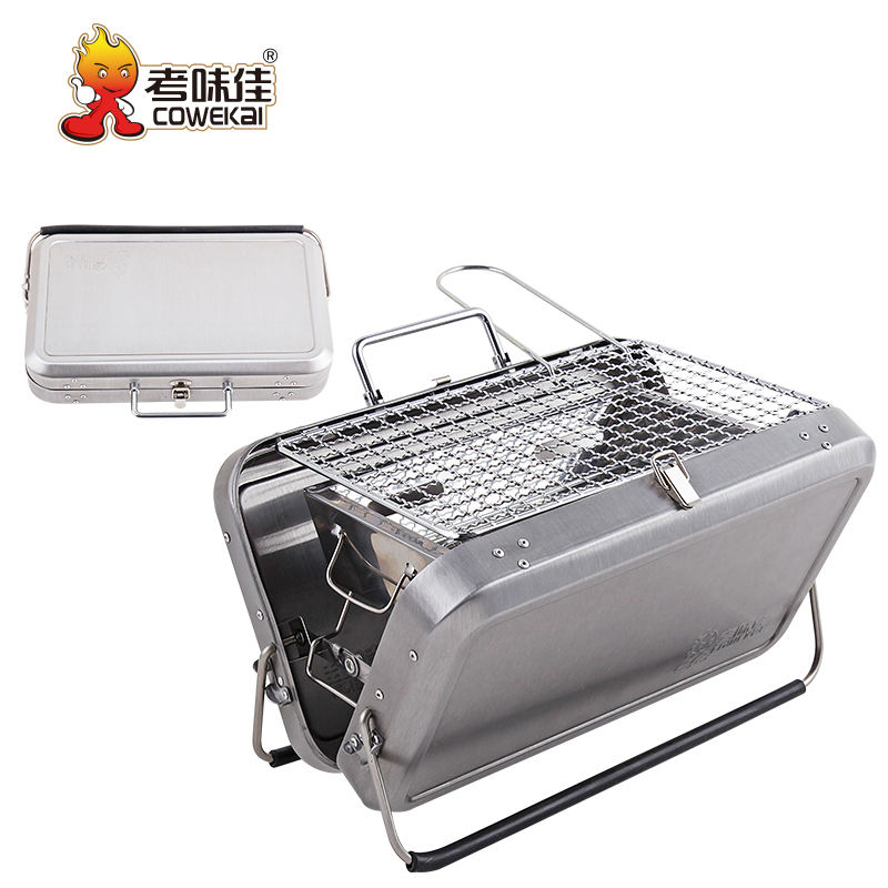Suitcase Design Outdoor Metal Stainless Steel Korean Japanese Camping Portable Barbecue Grills Charcoal BBQ Grill