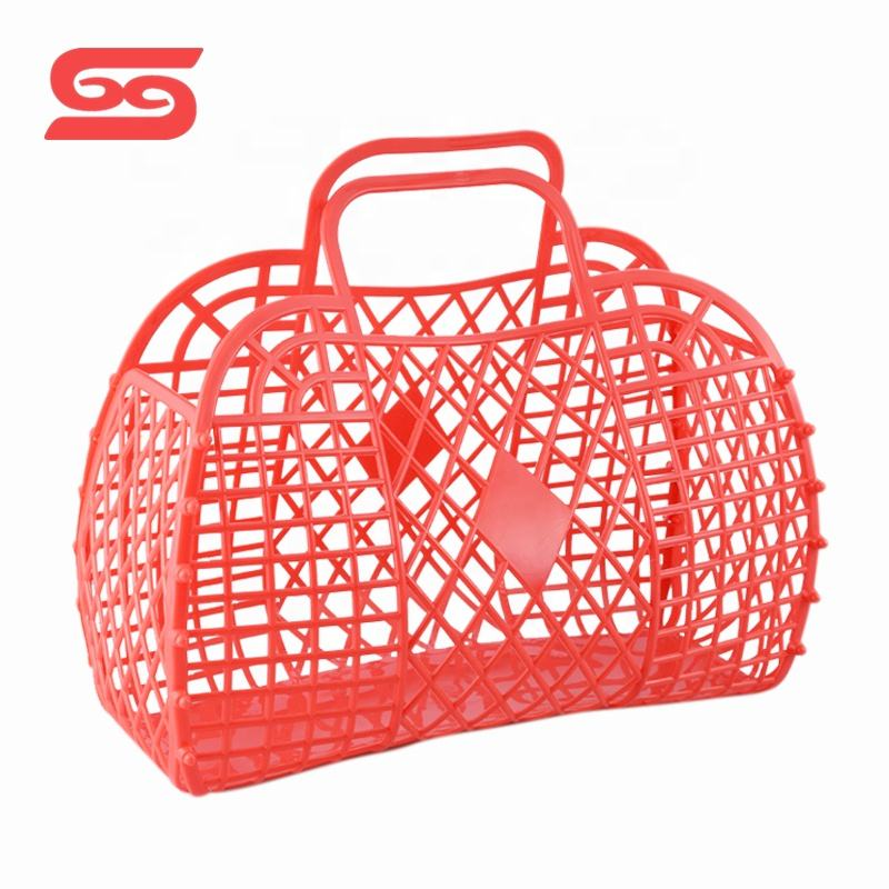 Fashion portable shopping plastic foldable storage basket for household
