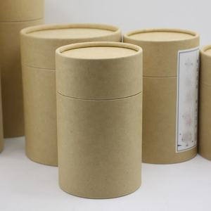 Custom Food Grade Offset Printing Cardboard Cylinder Tea Coffee Box Round Kraft Cardboard Black Paper Tube Packaging