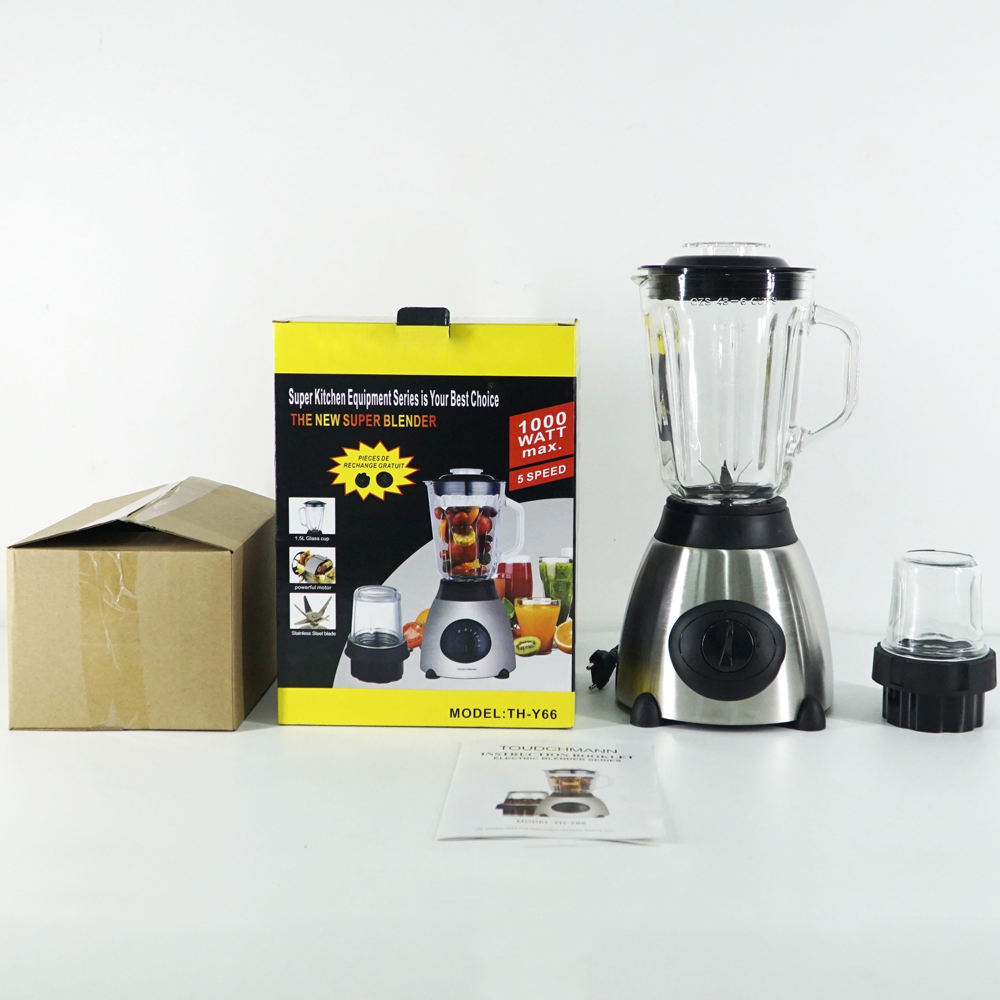 600W 2 in 1 blender with 1.5L and 5 speed stainless steel body blender Y66 blender