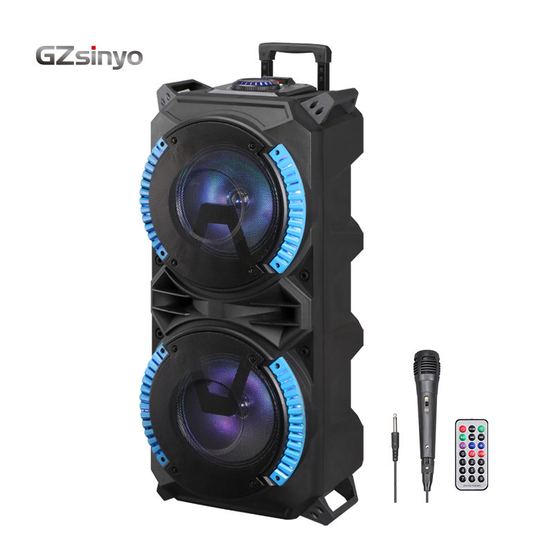 0EM double 8 inch karaoke subwoofer portable trolley speaker with LED Colored lights/Bluetooth Wireless Charging sound box