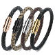 Wholesale Jewelry Stainless Steel Braided Bracelets Magnetic Buckle Mens Genuine Leather Bracelet