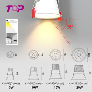 Toplighting moda moderna 5w 10w 15w 20w Antiglare levou local downlight recesso levou spot light para home hotel
