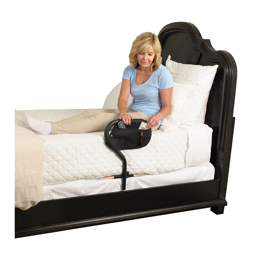 Stander Bed Cane Adult Home Bed Safety Bed Rail & Handle for Elderly, Stand Assist Aid with Organizer Pouch