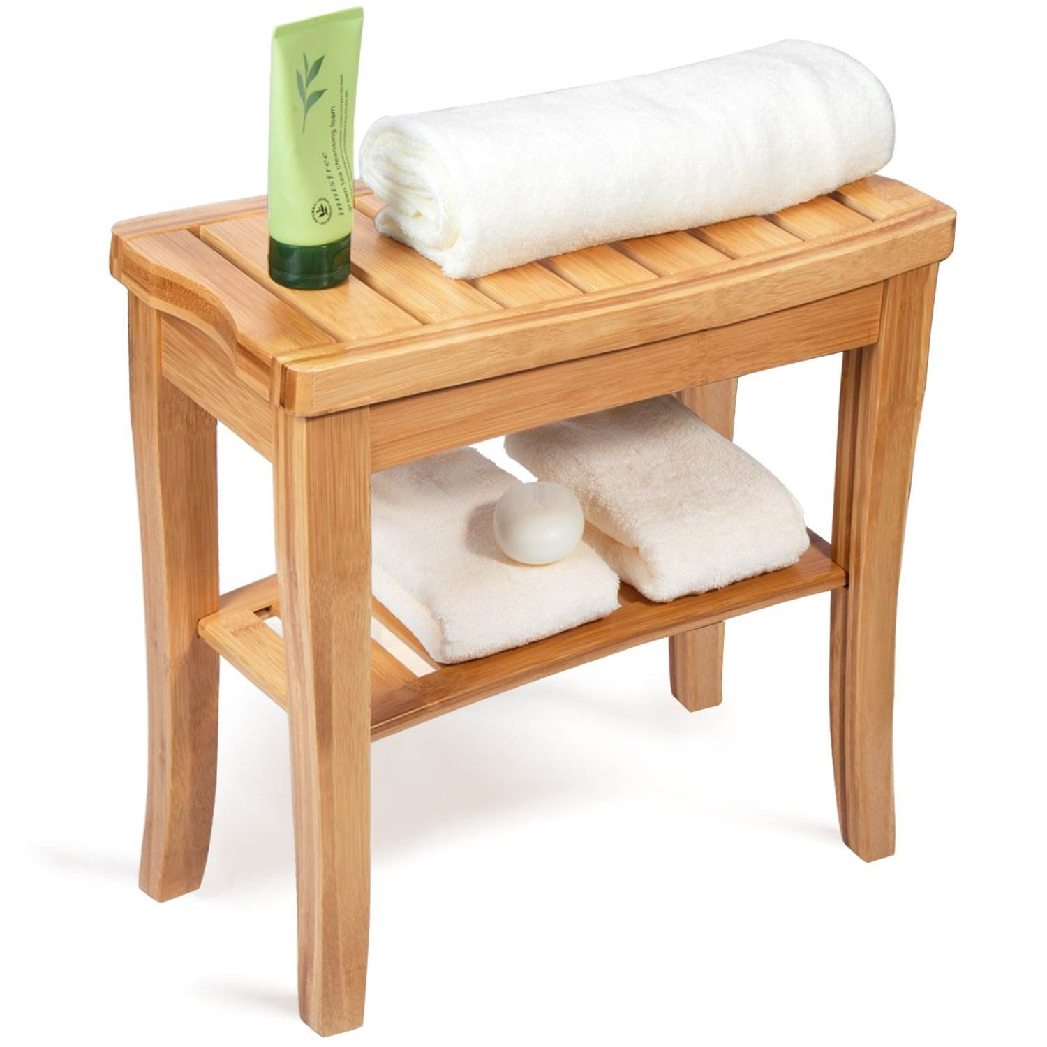 Bamboo Shower Bench Stool Wood Wood Seat Bench Organizer Stool with Storage Shelf
