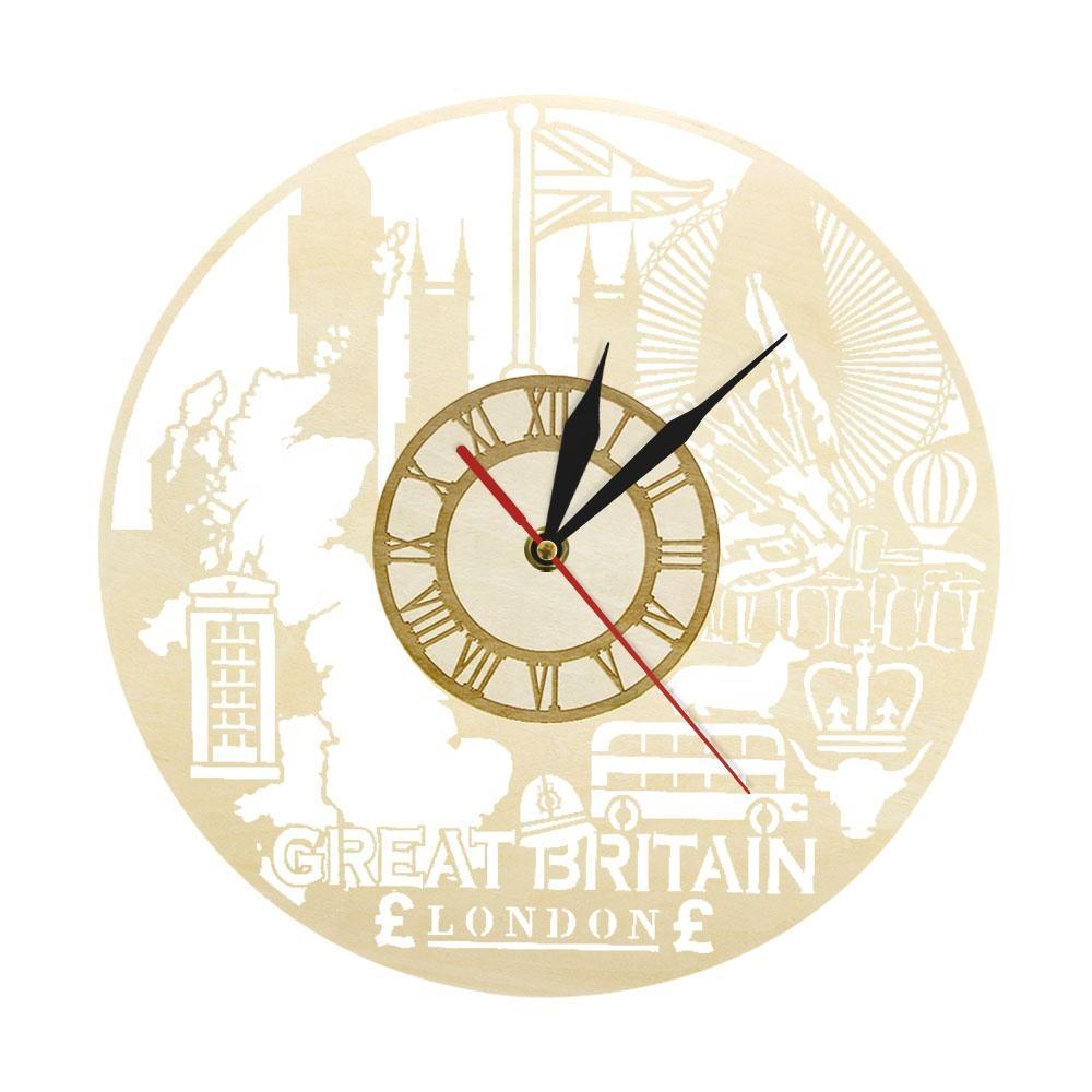 London Uk Vinyl Wall Clock City Skyline Travel Souvenir Home Living Room Decor,Home Design Checklist Template