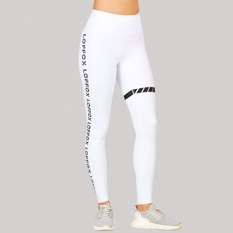 Plus Size High Waist Seamless Side Tights Fashion Women's Compression Pants Letter White Leggings