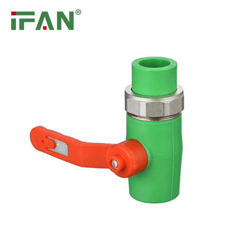 IFAN high quality ppr valve with PPR double union 32mm brass body brass core factory price