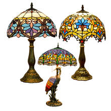 8 12' 16 20'' nordic antique luxury stained glass lampen shade colored vintage bedside night decoration light tiffany table lamp