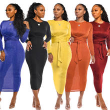 New Coming Designer Ladies Dresses Simple Sexy Casual Sash Round Neck Women Clothing Skinny Formal Long Sleeve Women Maxi Dress