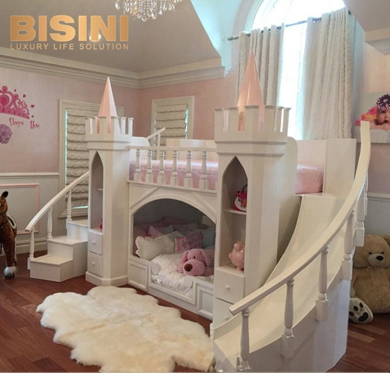 French Style Solid Wood Kids Bed Castle Princess Pumpkin Bed