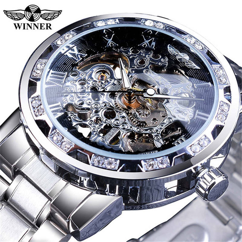 Winner Watch New High Quality Winner Gold Skeleton Men Hand-wind Mechanical Stainless Steel Brand Wristwatches Relogio Masculino