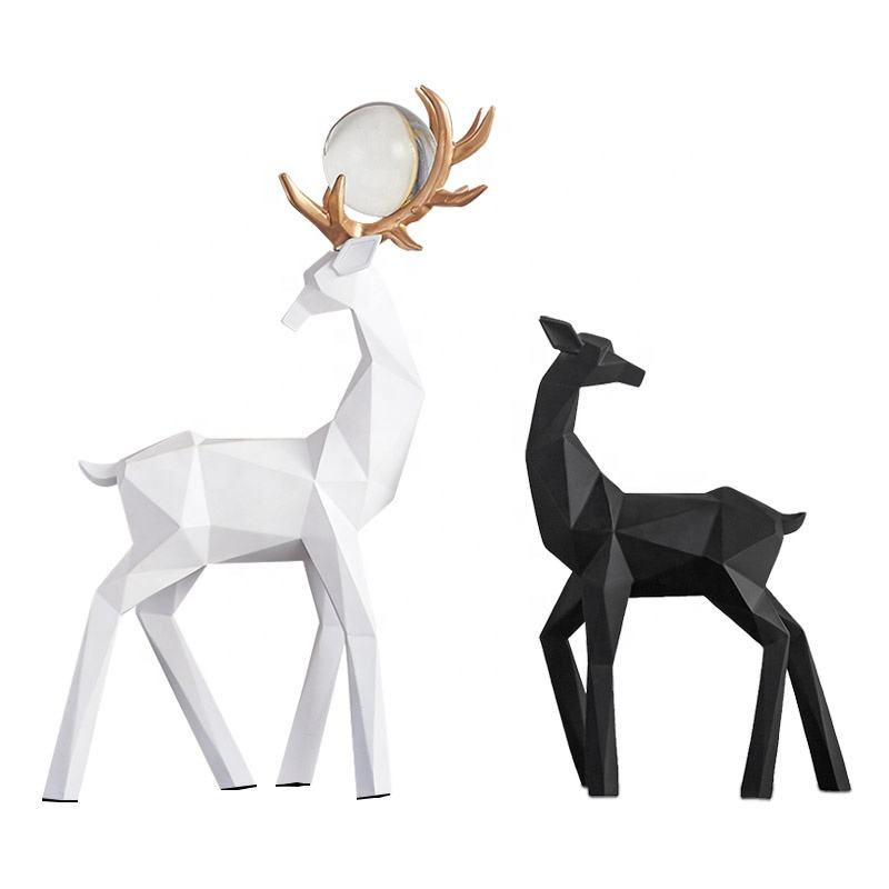 Fashion Home black white deer couple design Sculpture decoration Animal Figurine indoor statue ornament