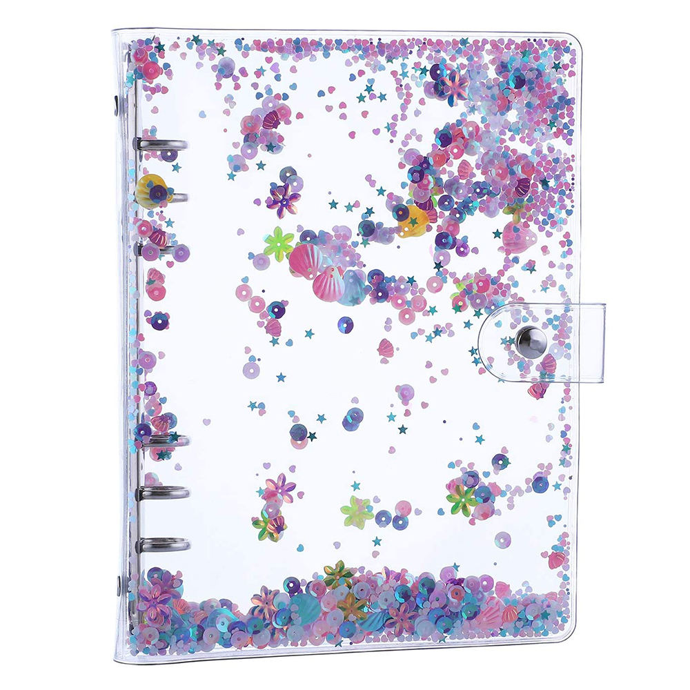 Wholesale Transparent Clear PVC A5 A6 Binder Cover 6 Ring Personal Loose Leaf Planner Organizer With Shiny Sequins