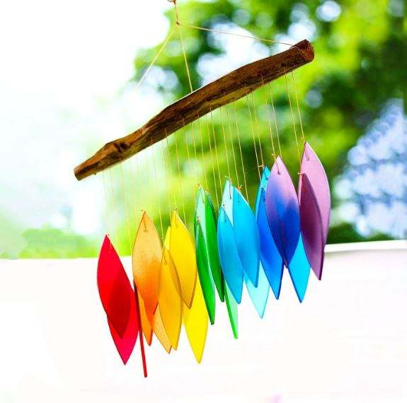 Bless International Handmade Wind Chimes Tubular Decorative Outdoor Garden Accent Gift Essentials Rainbow Wind Chime