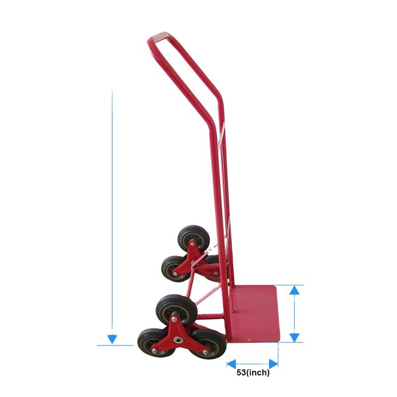 Six wheel steel climbing stairs hand truck trolly