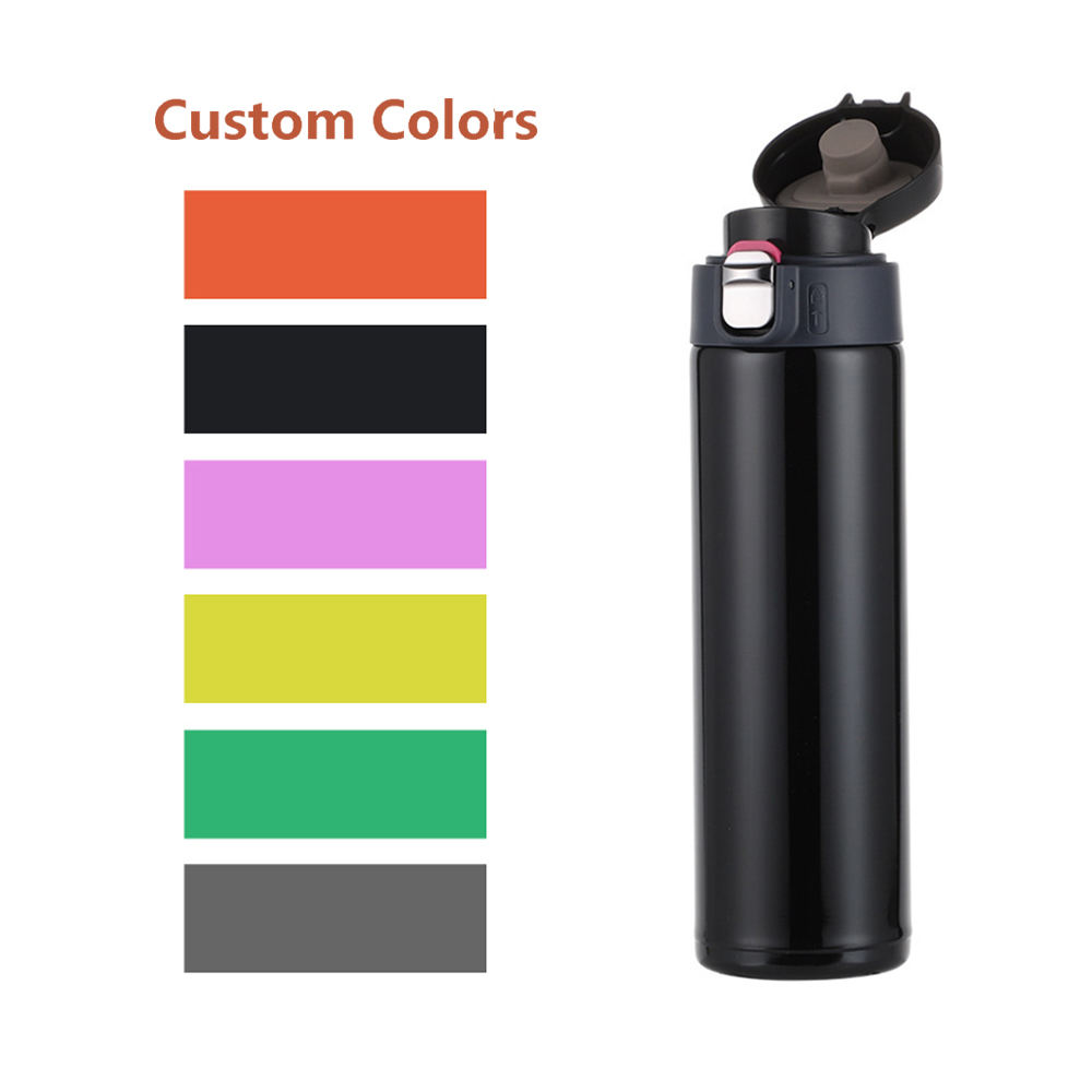 Custom Print Personalized thermos Insulated Water Bottle Vacuum flask With Bounce Lid