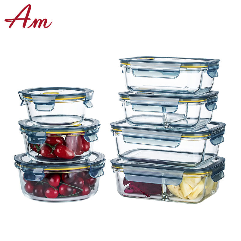 Pyrex Glass Microwave Oven Large Glass Food Storage Container Set With Airtight Lid Lunch Box Rectangular Shape