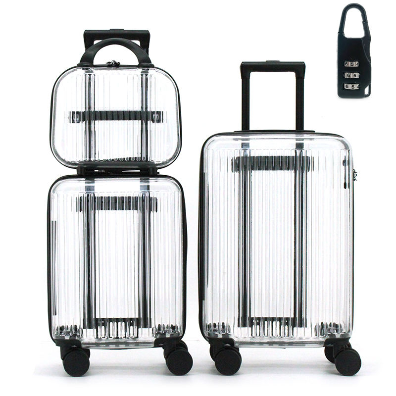 Wholesale Custom High Quality Suitcase PC Smart Cool Clear Travel Cabin Luggage Fashion Transparent Trolley Bags Luggage