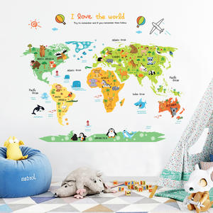 New Arrival Removable PVC Home Decor Letter Vinyl Sticker World Map Wall Sticker
