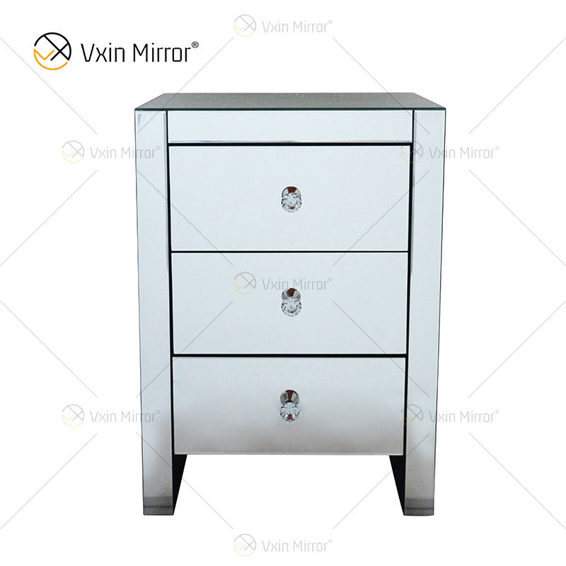 hot sell Elegant Vxin WXF-031-1 Bedside table with 3 Drawer Silver Mirrored Nightstand