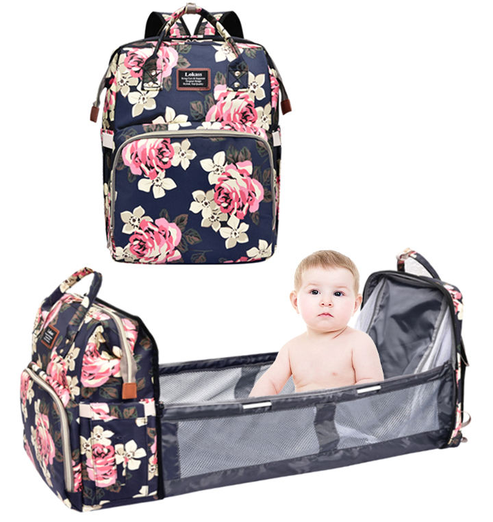 Lokass Water-Resistant Nappy Bag Diaper Bag Mommy Baby Backpack With Changing Pad
